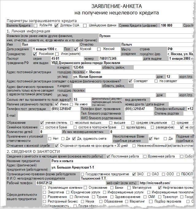 Программа Доки - кредитный договор. Фрагмент заявления на кредит