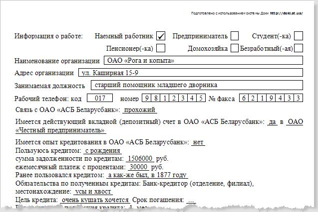 Программа Доки - кредит по карте. Фрагмент заявления на кредитную карту