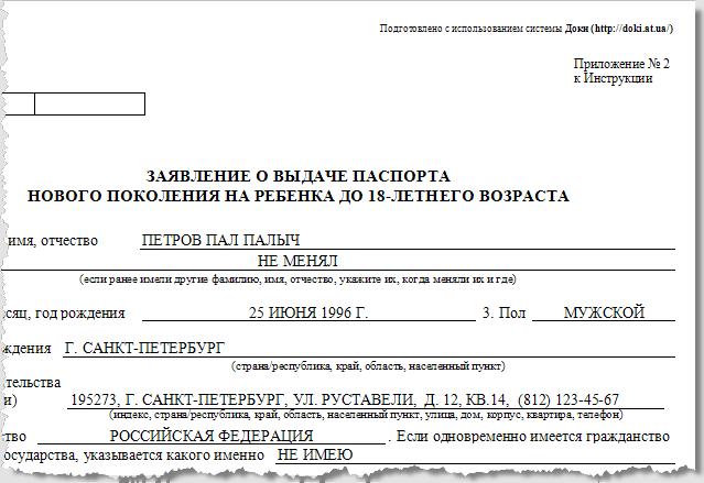 Программа Доки - Паспорт нового образца. Фрагмент заявления о выдаче паспорта